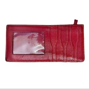 Vintage Red Leather Long Wallet ID Card Case